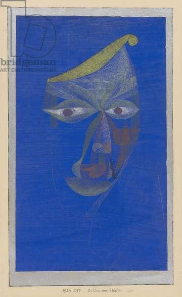 Bildnis eines Asiaten (Portrait of an Oriental), 1924 (tempera, mounted on silver-painted paper)