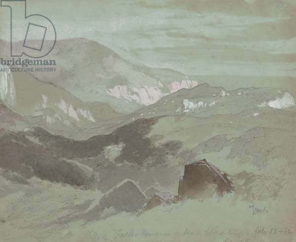 Cliffs of Ecclesbourne near Hastings, 1862 (graphite with wash on gray wove paper)