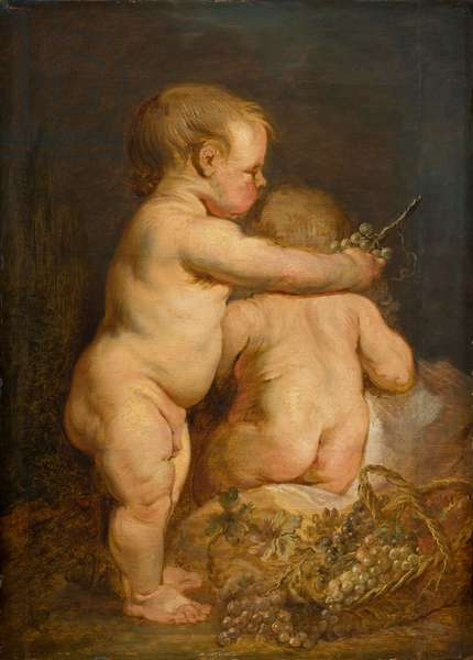 Two Naked children with Grapes, c.1630-40 (oil on oak)