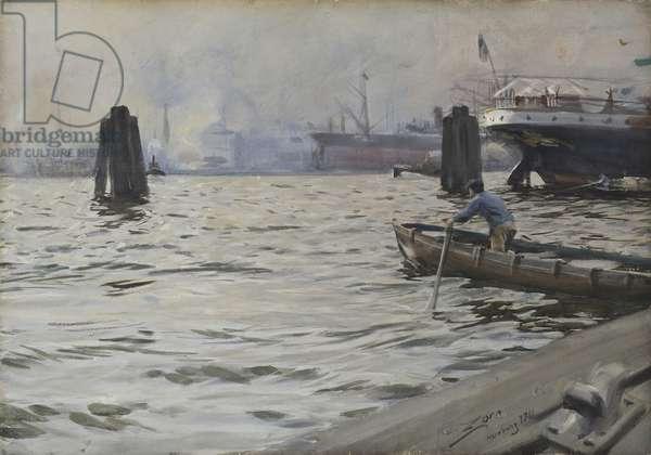 Port of Hamburg, 1891 (w/c on paper)
