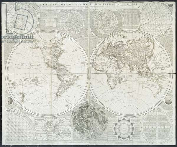 A general map of the world or terraqueous globe by Samuel Dunn, 1787 (engraving)