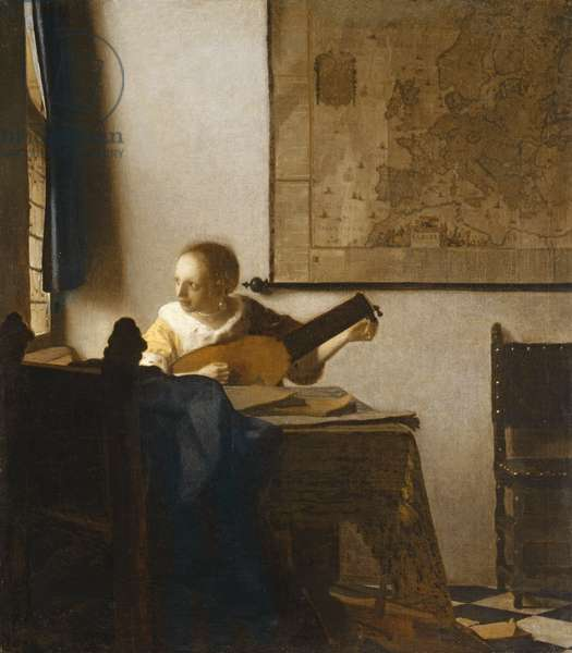 Woman with a Lute, c.1662-1663 (oil on canvas)