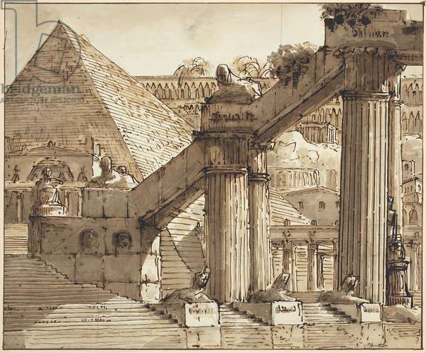 Egyptian Stage Design, 1800-10 (pen and brown ink with brown wash over graphite on laid paper)