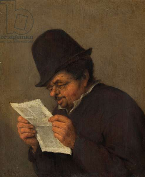Old Peasant Reading a Paper, c.1647 (oil on oak)