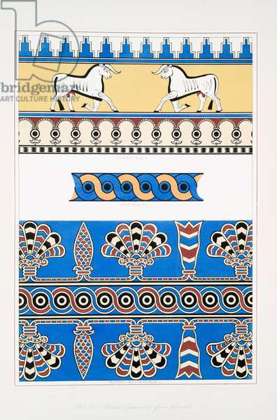 Painted ornaments from Nimroud [Calah], 1849 (lithograph)