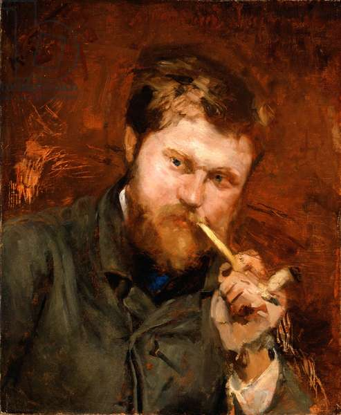 Man Smoking a Pipe, c.1875 (oil on canvas)