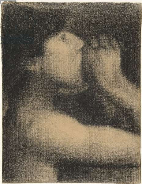 Echo, Study for ' Bathers at Asnieres', 1883-4 (conte crayon on paper)