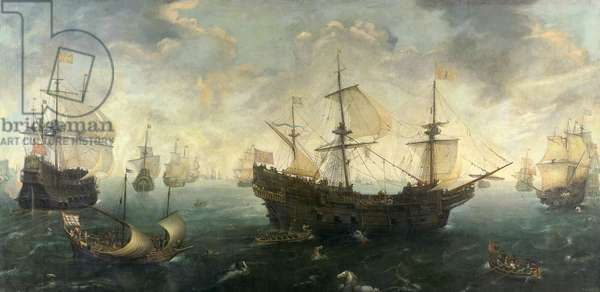 The Spanish Armada off the English Coast in 1588, c.1620-25 (oil on panel)