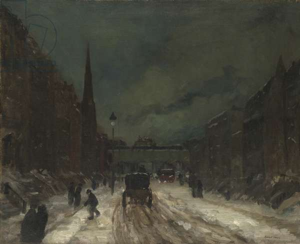 Street Scene with Snow (57th Street, NYC.), 1902 (oil on canvas)