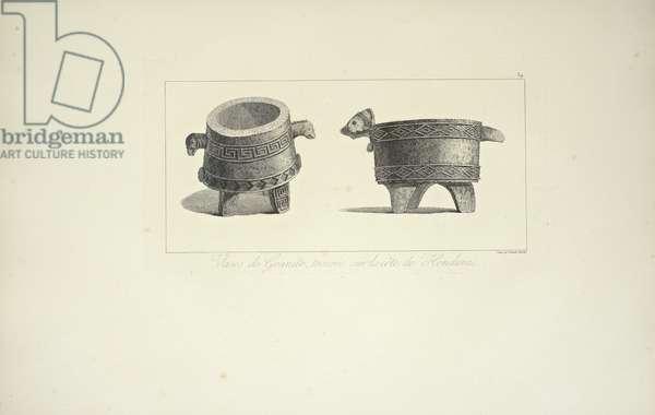 Vases in Granite, Found on the Coast of Honduras, illustration from 'Vues des Cordillères et Monumens des Peuples Indigènes de l'Amérique' by Alexander von Humboldt and Aime Bonpland, 1813 (engraving)
