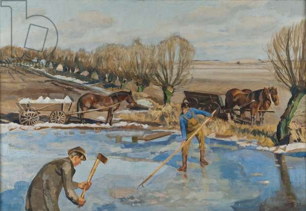 Farmhands fetching Ice, 1927 (oil on canvas)