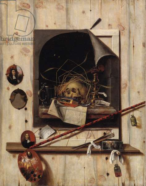 Trompe l'oeil with Studio Wall and Vanitas Still Life, 1668 (oil on canvas)