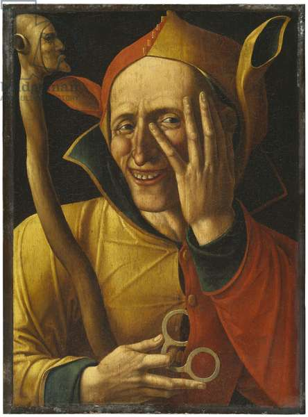Laughing Jester (oil on wood)