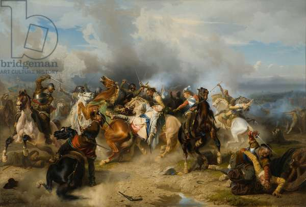 Death of King Gustav II Adolf of Sweden at the Battle of Lützen, 1855 (oil on canvas)