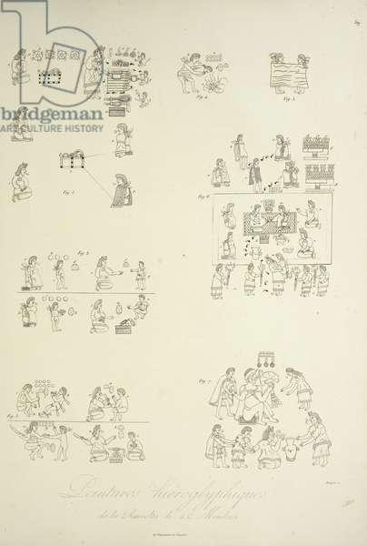 Hieroglyphic paintings from the Mendoza Collection, illustration from 'Vues des Cordillères et Monumens des Peuples Indigènes de l'Amérique' by Alexander von Humboldt and Aime Bonpland, 1813 (engraving)