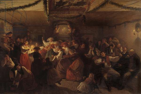 A Wedding Party from Vingåker, 1857 (oil on canvas)