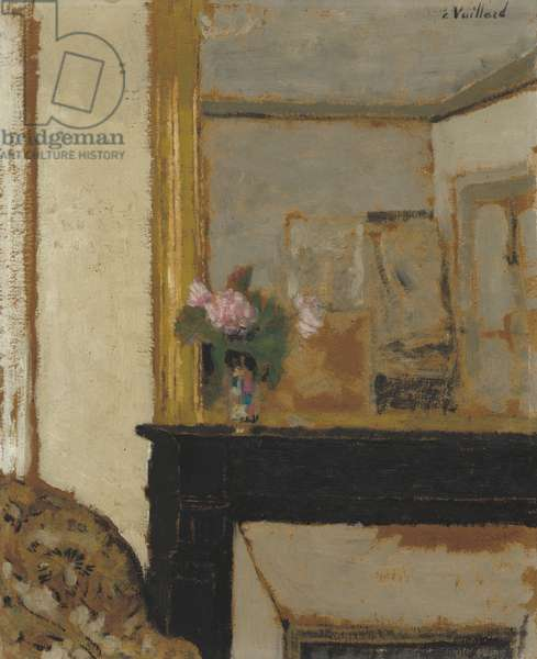 Vase of Flowers on a Mantelpiece, c.1900 (oil on cardboard)