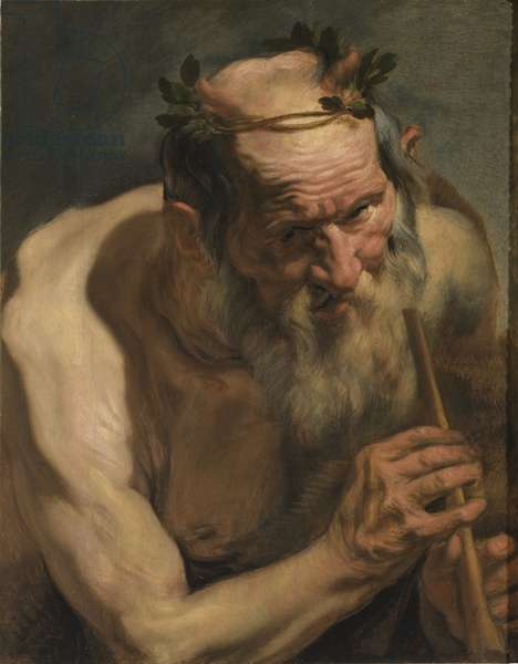Old Satyr Holding a Flute, c.1620 (oil on panel)