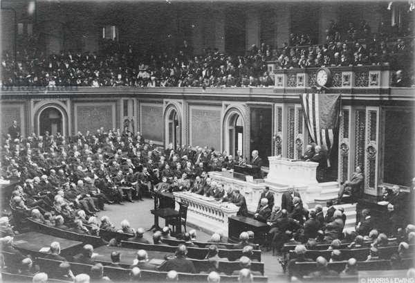 President Woodrow Wilson addressing Congress, c.1917 (b/w photo)