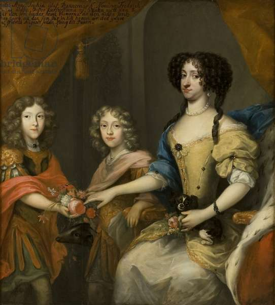 Anna Sofia, princess of Denmark, electress of Saxony, with her sons Johann Georg and Friedrich August, c.1680 (oil of canvas)