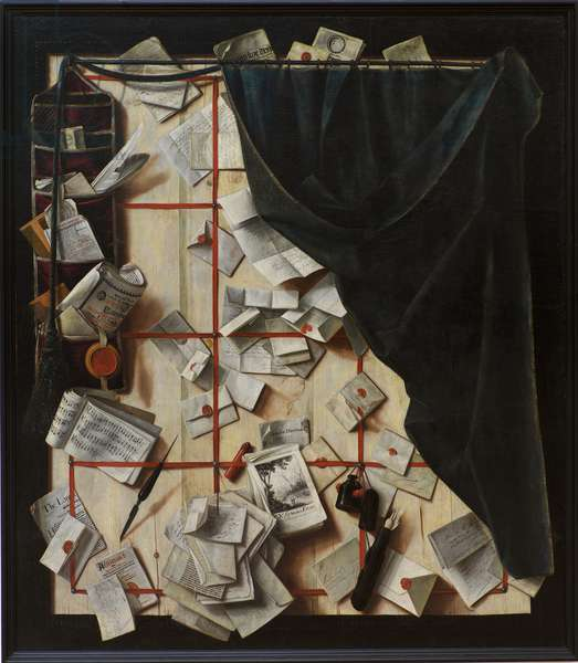 Trompe l'oeil. Board Partition with Letter Rack and Music Book, 1668 (oil on canvas)
