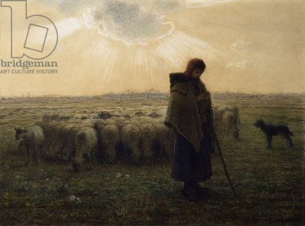 The Shepherdess and Her Flock, 1862-67 (pastel and charcoal with black pen and ink on wove paper)