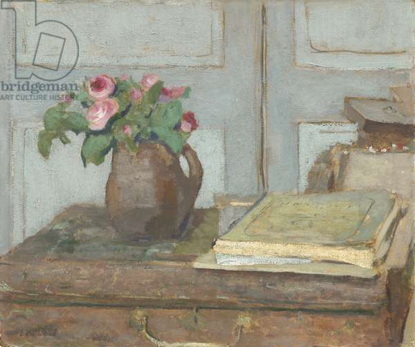 The Artist's Paint Box and Moss Roses, 1898 (oil on cardboard)