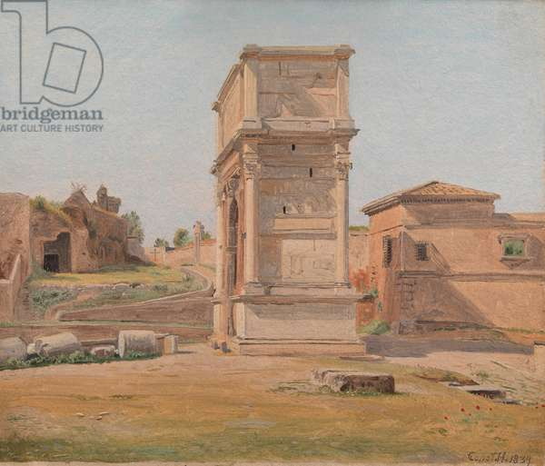 The Arch of Titus in Rome, 1839 (oil on paper laid down on canvas)