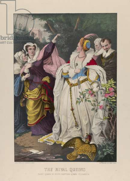 The Rival Queens, Mary Queen of Scots Defying Queen Elizabeth, 1857-72 (Hand-colored lithograph)