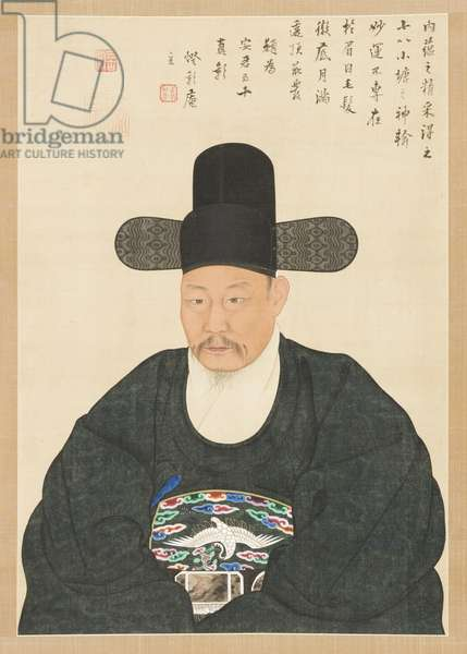 Portrait of Scholar-official Ahn in his Fifties, 19th century (hanging scroll, ink and colour on silk)