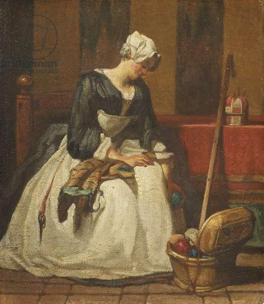 The Embroiderer (oil on oak)
