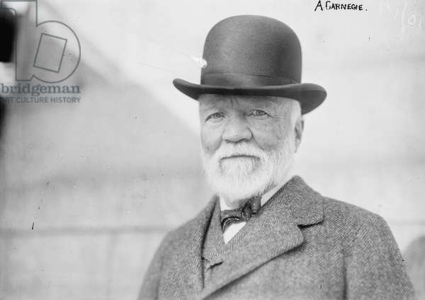 Andrew Carnegie in New York on return from Europe, 1913 (b/w photo)