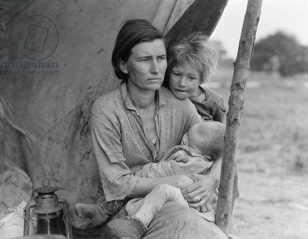 Migrant agricultural worker's family, 1936 (b/w photo)