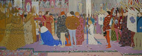 The Crowning at Reims of the Dauphin, from Joan of Arc Series E, 1907 (oil & gold leaf on canvas)