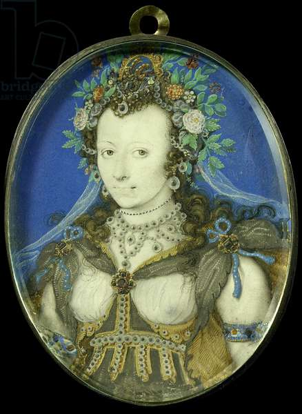 Portrait of a woman as Flora, c.1600-17 (parchment, silver and glass)