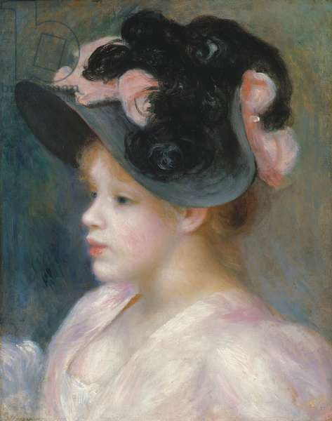 Young Girl in a Pink-and-Black Hat, c.1891 (oil on canvas)