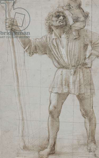 St. Christopher with the Infant Jesus, c. 1490 (Silverpoint, heightened with white, on light grey prepared paper)
