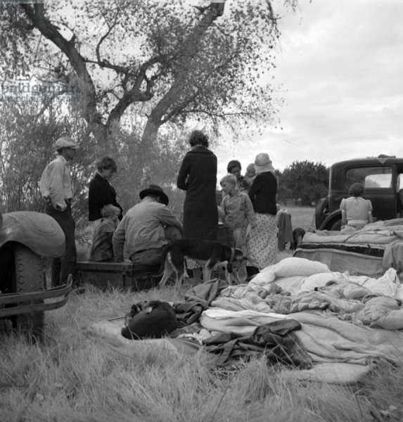 Squatters along highway near Bakersfield, California, 1935 (b/w photo)