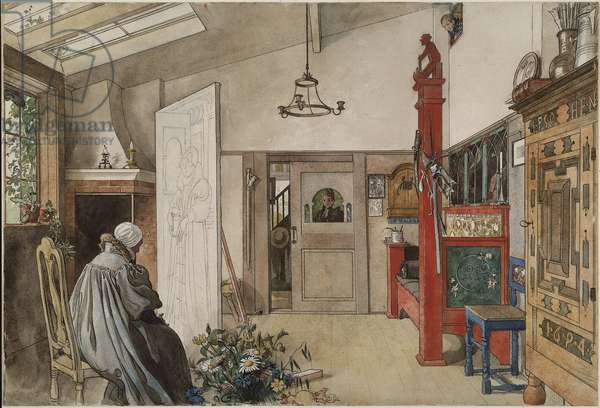 The Studio, from 'A Home' series, c.1895 (w/c on paper)