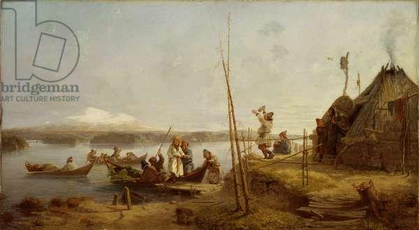Bridal Homecoming at Lake Hornavan (oil on canvas)