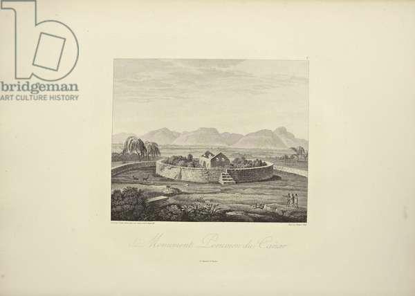 Peruvian Monument of Canar, drawn by Gmelin, engraved by Bouquet, illustration from 'Vues des Cordillères et Monumens des Peuples Indigènes de l'Amérique' by Alexander von Humboldt and Aime Bonpland, 1813 (engraving)