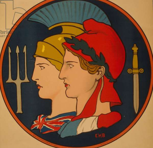 Emblem of France and Great Britain, 1917 (colour lithograph)