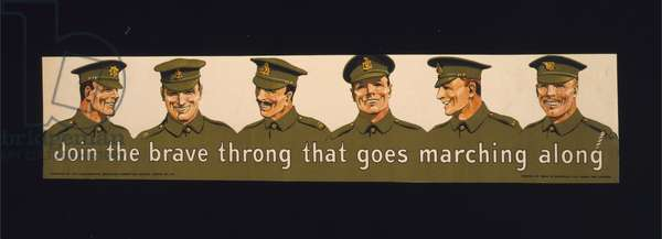 Join the brave throng that goes marching along, 1915 (colour lithograph)