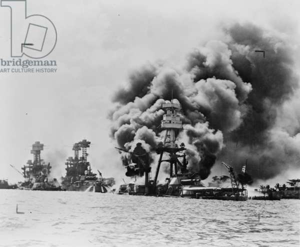 Damaged USS West Virginia and Tennessee with USS Arizona sunk at Pearl Harbor, 1941 (b/w photo)