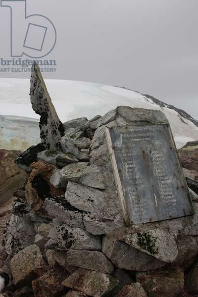 Plaque at the summit of Petermann Island, Antartica (colour photo)