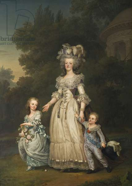 Queen Marie Antoinette with her Children in the Park of Trianon, 1785 (oil on canvas)