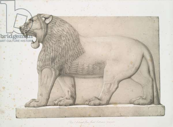 Colossal lion from the Great Entrance at Nimroud [Calah], 1853 (lithograph)