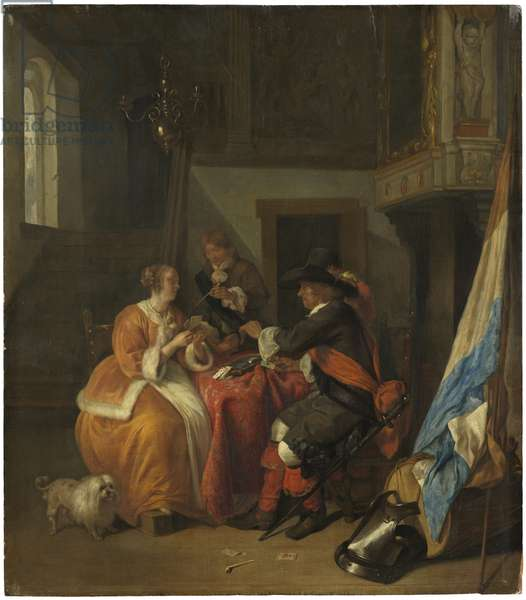 A Game of Cards, c.1655-9 (oil on panel)