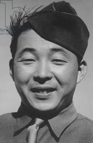 Private Kato, Manzanar Japanese American Internment Camp, California, 1943 (b/w photo)