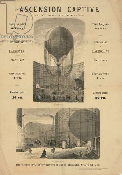 Broadside announcing a captive balloon ascension during the Paris Exposition of 1867 (engraving)